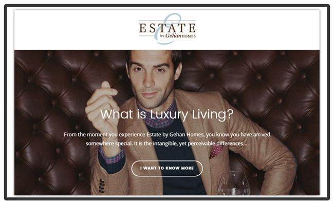Estate by Gehan Homes – Luxury Landing Page